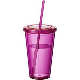 Cyclone geïsoleerde drinkbeker met rietje Transparent Pink