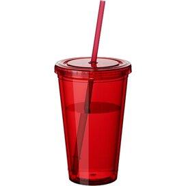 Cyclone geïsoleerde drinkbeker met rietje Transparant rood