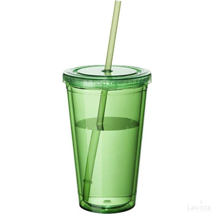 Cyclone geïsoleerde drinkbeker met rietje Transparant groen