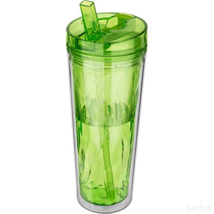 Hot en Cold Flip n Sip geometrische isolerende drinkfles Lime