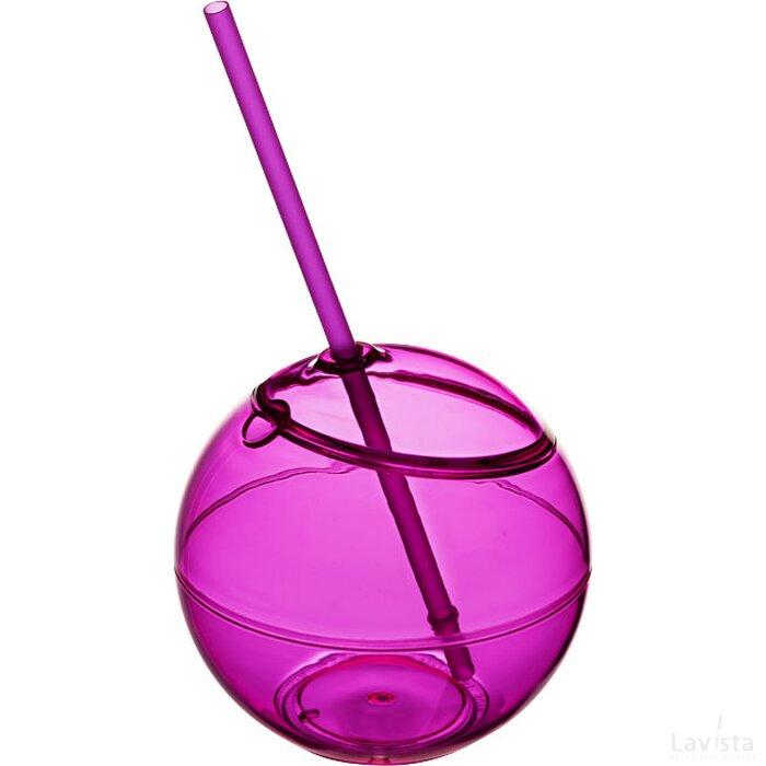 Fiesta bal met rietje Roze