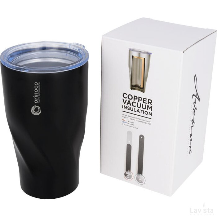 Hugo 470 ml koper vacuüm geïsoleerde drinkbeker Zwart