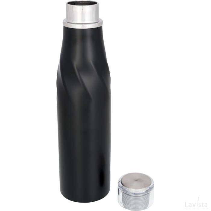 Hugo koper vacuüm geïsoleerde zelfsluitende thermosfles Zwart