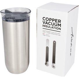 Lekvrije koperen vacuümgeïsoleerde drinkbeker met draaidop Zilver