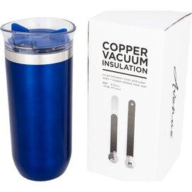 Lekvrije koperen vacuümgeïsoleerde drinkbeker met draaidop blauw
