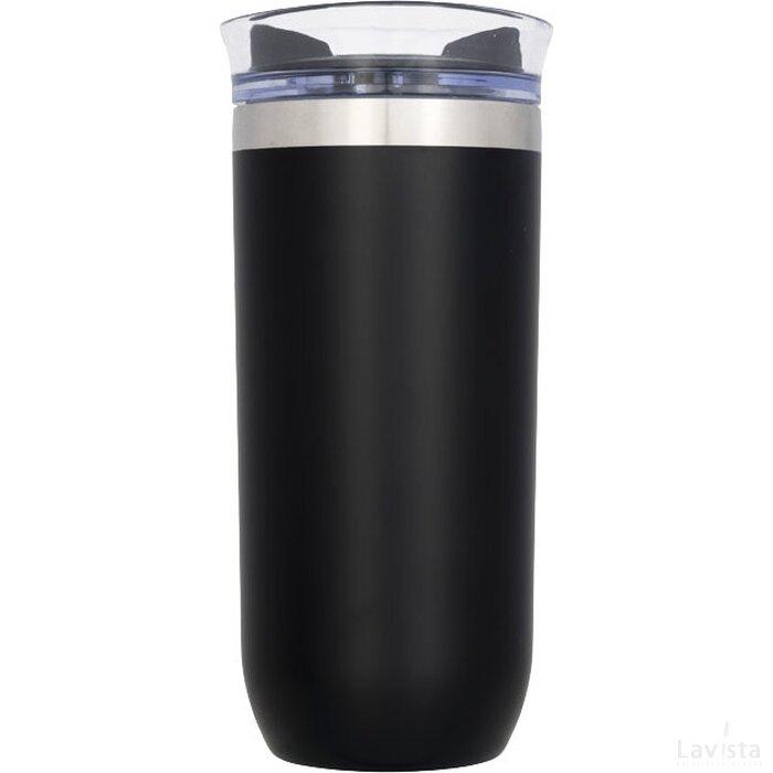 Lekvrije koperen vacuümgeïsoleerde drinkbeker met draaidop Zwart