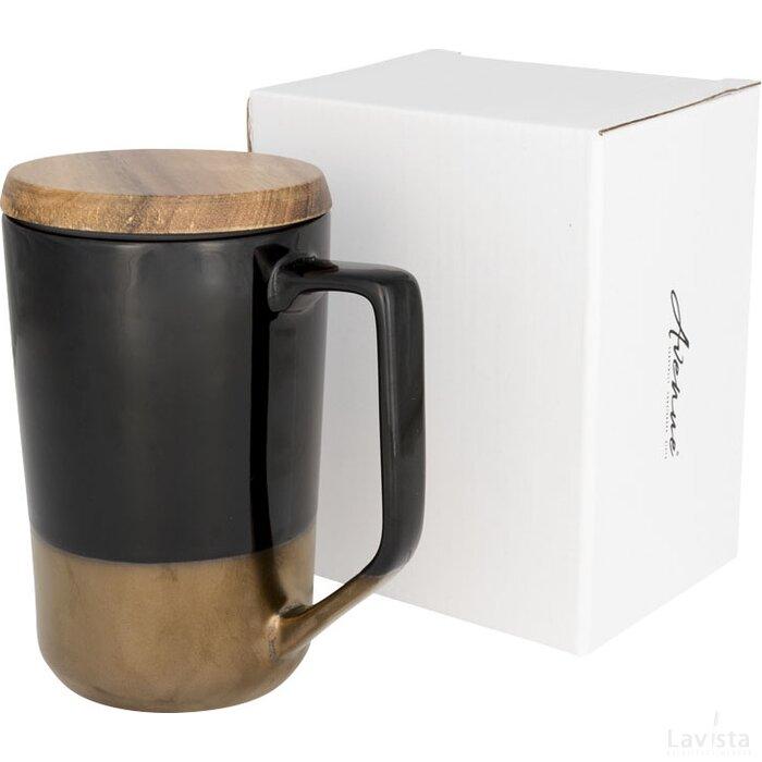 Tahoe keramische thee of koffiemok met houten deksel Zwart