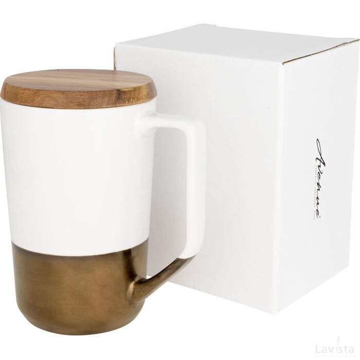 Tahoe keramische thee of koffiemok met houten deksel Wit