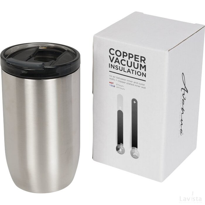 Lagom 380 ml koper vacuüm geïsoleerde drinkbeker Zilver