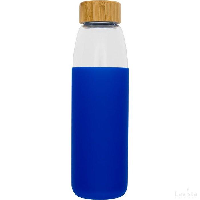 Kai 540 ml glazen drinkfles met houten deksel blauw