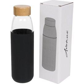 Kai 540 ml glazen drinkfles met houten deksel Zwart