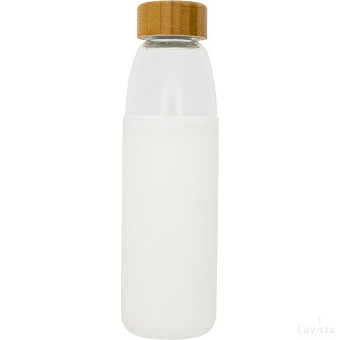 Kai 540 ml glazen drinkfles met houten deksel Wit