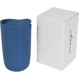 Mysa 410 ml dubbelwandige keramische drinkbeker blauw