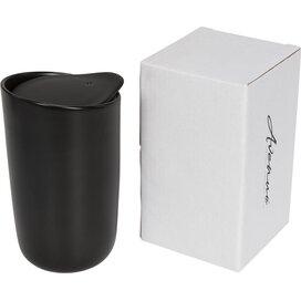 Mysa 410 ml dubbelwandige keramische drinkbeker Zwart