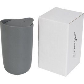 Mysa 410 ml dubbelwandige keramische drinkbeker Grijs