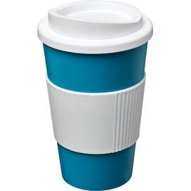 Americano® 350 ml geïsoleerde beker met grip aqua blauw,Wit