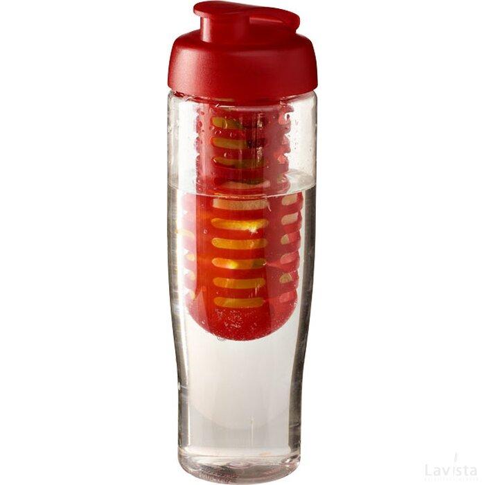 H2O Tempo® 700 ml sportfles en infuser met flipcapdeksel Transparant,Rood