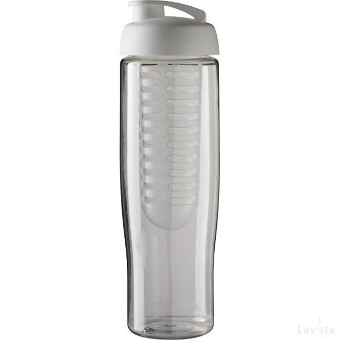 H2O Tempo® 700 ml sportfles en infuser met flipcapdeksel Transparant,Wit