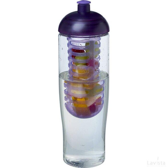 H2O Tempo® 700 ml bidon en infuser met koepeldeksel Transparant,Paars