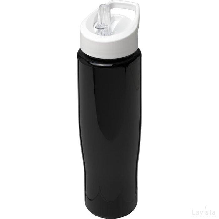 H2O Tempo® 700 ml sportfles met fliptuitdeksel Zwart,Wit