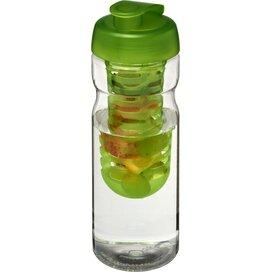H2O Base® 650 ml sportfles en infuser met flipcapdeksel Transparant,Lime