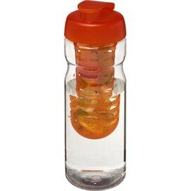 H2O Base® 650 ml sportfles en infuser met flipcapdeksel Transparant,Oranje