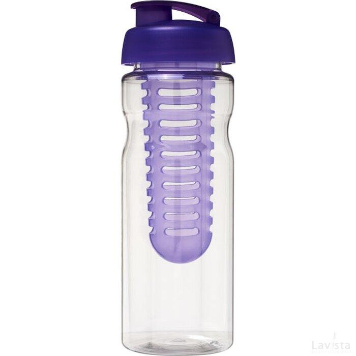 H2O Base® 650 ml sportfles en infuser met flipcapdeksel Transparant,Paars