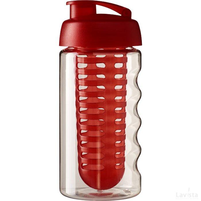 H2O Bop® 500 ml sportfles en infuser met flipcapdeksel Transparant,Rood