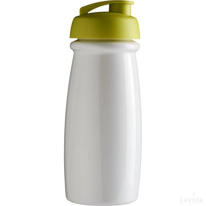 H2O Pulse® 600 ml sportfles met flipcapdeksel Wit,limegroen