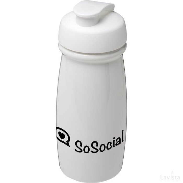 H2O Pulse® 600 ml sportfles met flipcapdeksel Wit