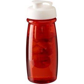 H2O Pulse® 600 ml sportfles en infuser met flipcapdeksel Transparant rood,Wit