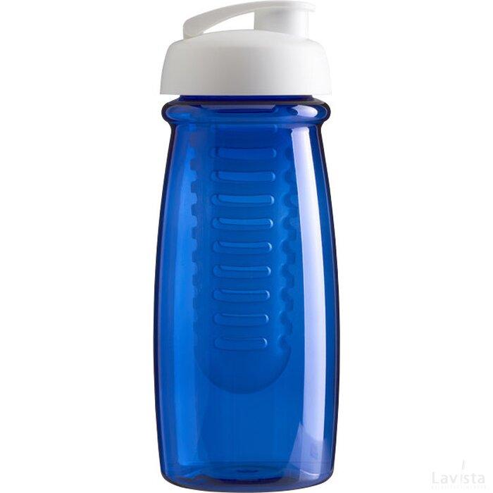 H2O Pulse® 600 ml sportfles en infuser met flipcapdeksel Transparant blauw,Wit