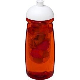H2O Pulse® 600 ml bidon en infuser met koepeldeksel Transparant rood,Wit