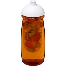 H2O Pulse® 600 ml bidon en infuser met koepeldeksel Transparant oranje,Wit