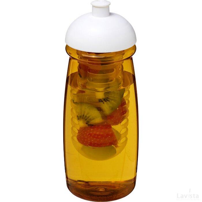 H2O Pulse® 600 ml bidon en infuser met koepeldeksel geel,Wit