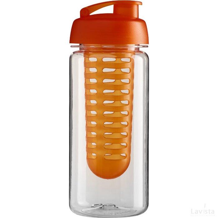 H2O Octave Tritan™ 600 ml sportfles en infuser met flipcapdeksel Transparant,Oranje