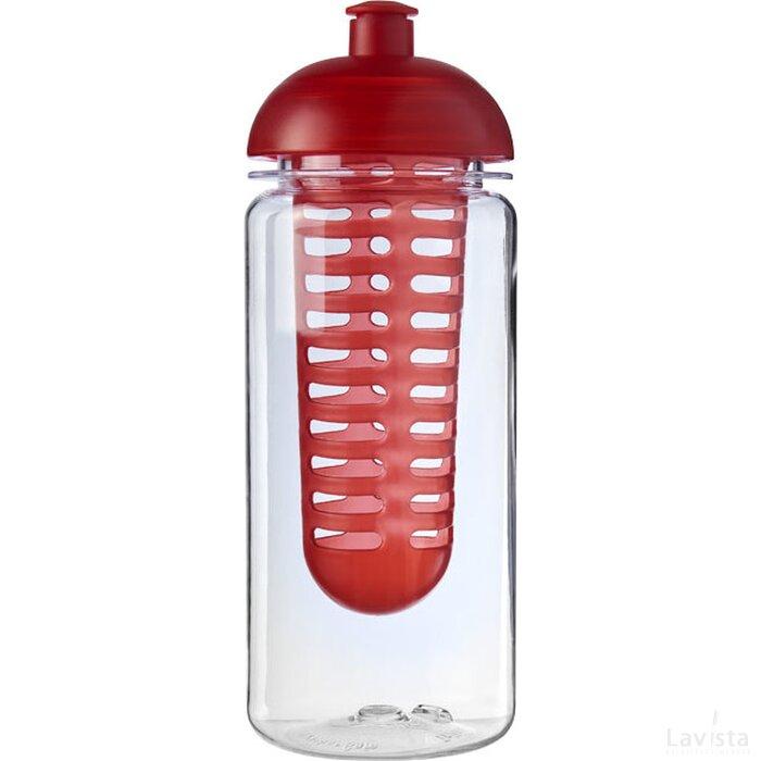 H2O Octave Tritan™ 600 ml bidon en infuser met koepeldeksel Transparant,Rood