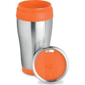 Rvs reisbeker 455 ml Tram oranje