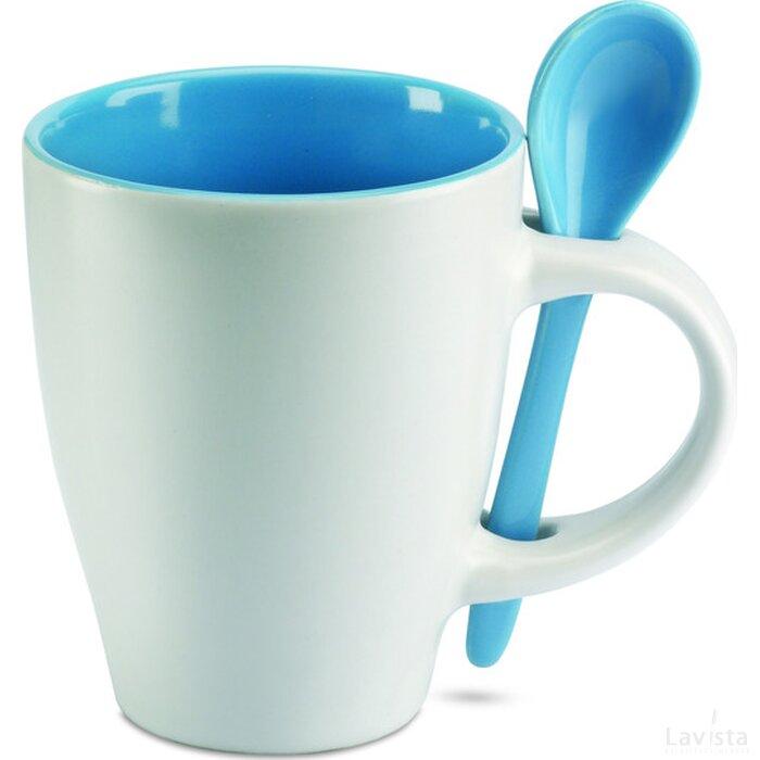 Mok met bijpassende lepel Dual blauw