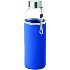 Drinkfles met neopreen tasje Utah glass royal blauw