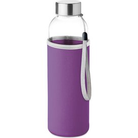 Drinkfles met neopreen tasje Utah glass violet