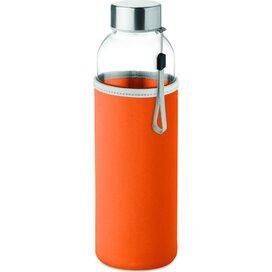 Drinkfles met neopreen tasje Utah glass oranje
