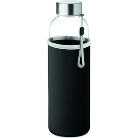 Drinkfles met neopreen tasje Utah glass zwart