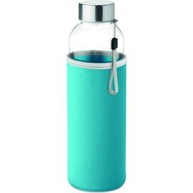 Drinkfles met neopreen tasje Utah glass turquoise