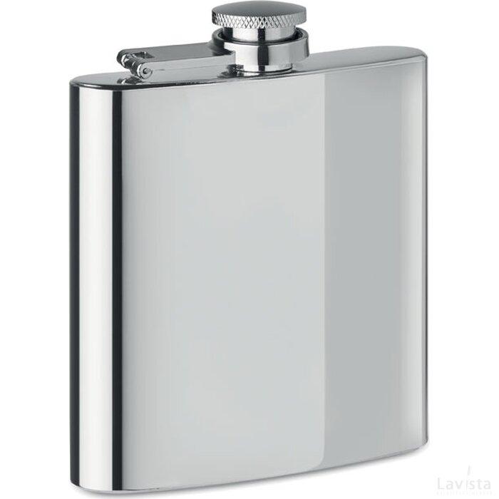 Slanke heupfles Slimmy flask + mat zilver
