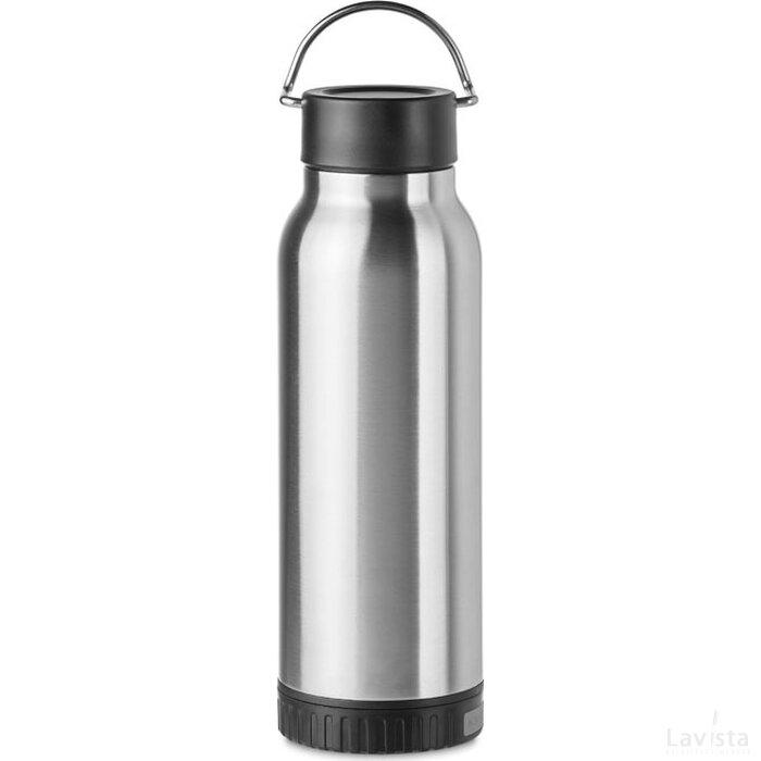 Drinkfles met powerbank Bottle wireless mat zilver