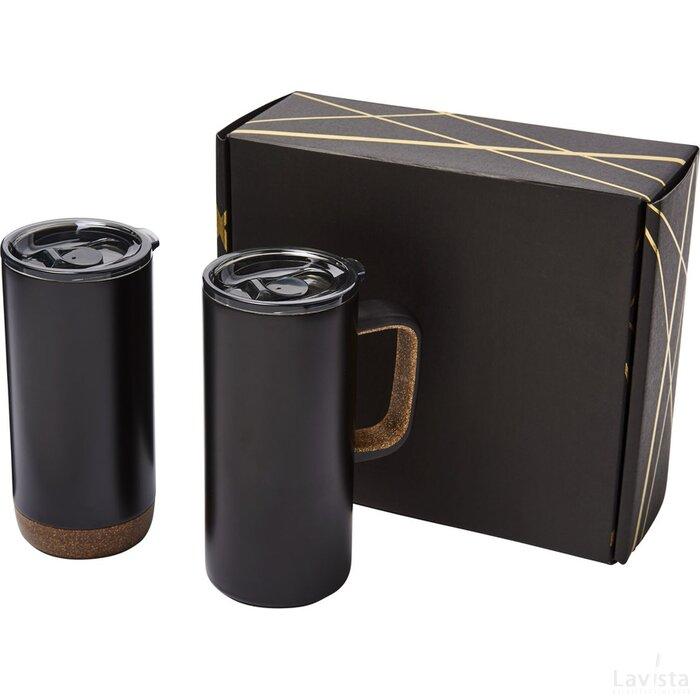 Valhalla mok en beker koperen vacuüm geschenkset Zwart