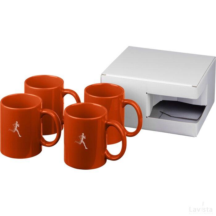 Ceramic mok 4 delige geschenkset Oranje