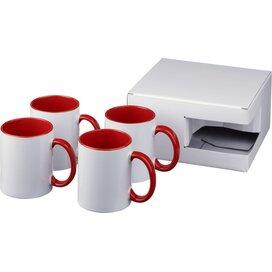Ceramic sublimatie mok 4 delige geschenkset Rood