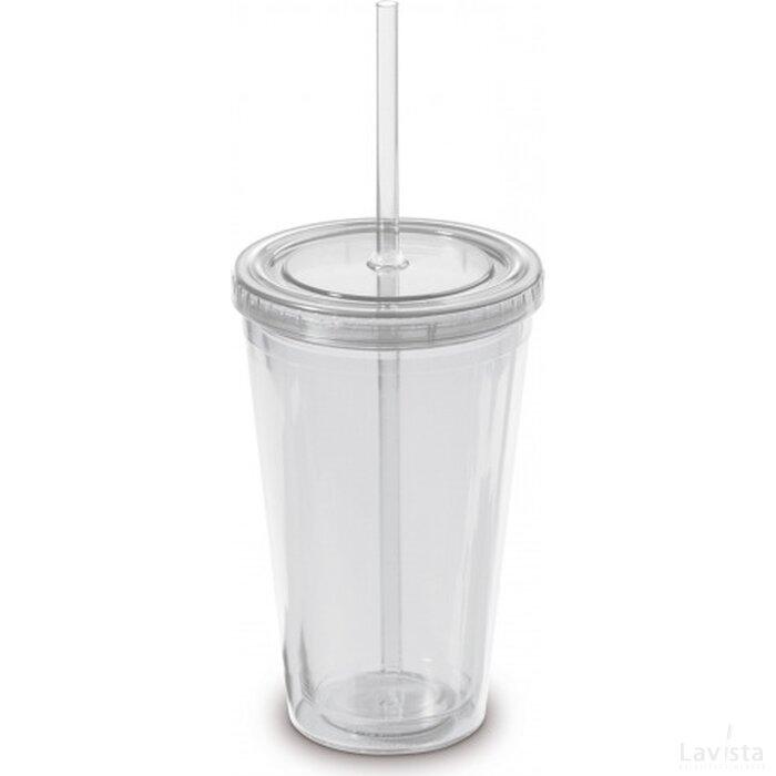Drinkbeker met rietje 500ml Transparant Wit
